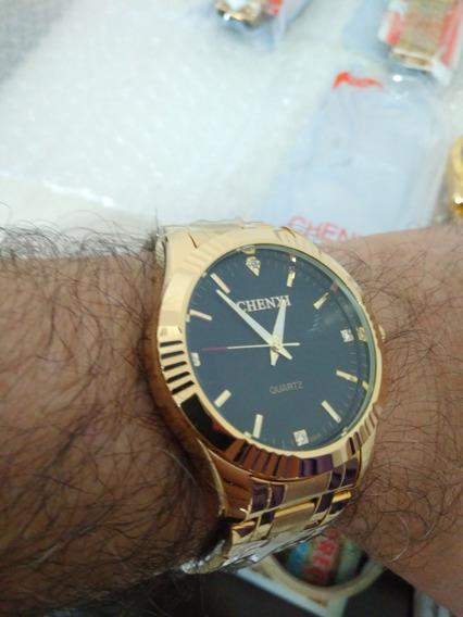 Relógio Dourado Chenxi Masculino Banhado A Ouro !