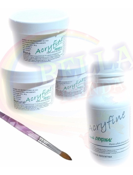 Kit 3 Acrilico Acryfine 30 Gs Polimeros Monomero + Pincel