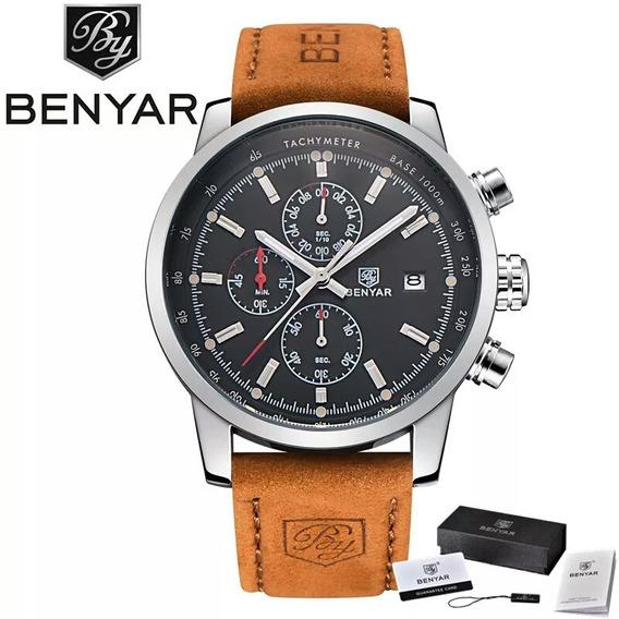 Relógio Masculino Pulso Benyar Luxo Cronógrafo P. De Couro