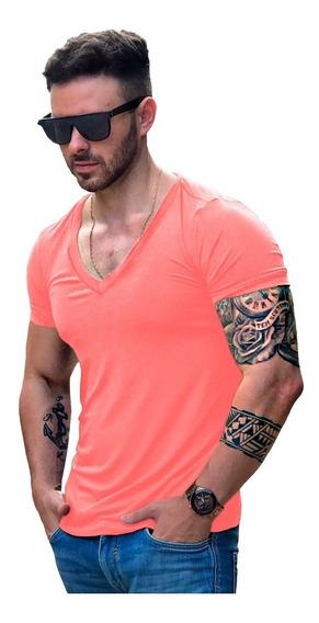 Camisa Masculina Decotada Em V Cavada Slim Viscose Elastano
