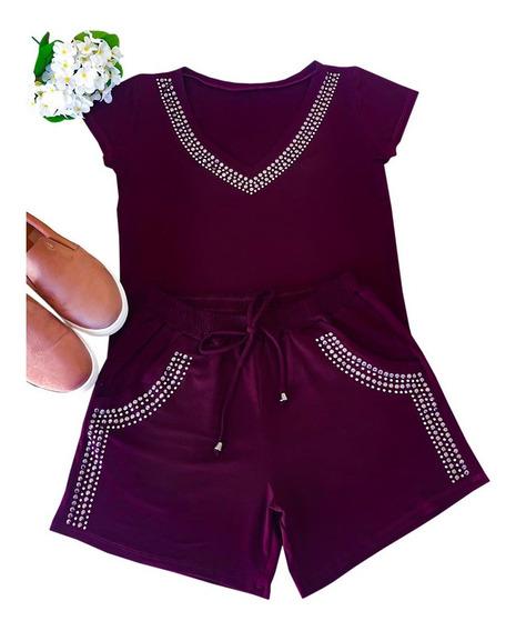 Shorts + Blusa Moda Verão Roupas Femininas Modinha Top