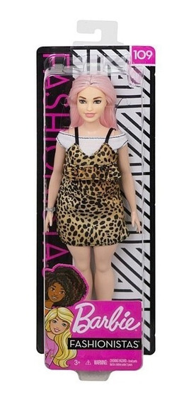 Nova Barbie Fashionistas 109 Roupa Onça Cabelo Rosa Mattel