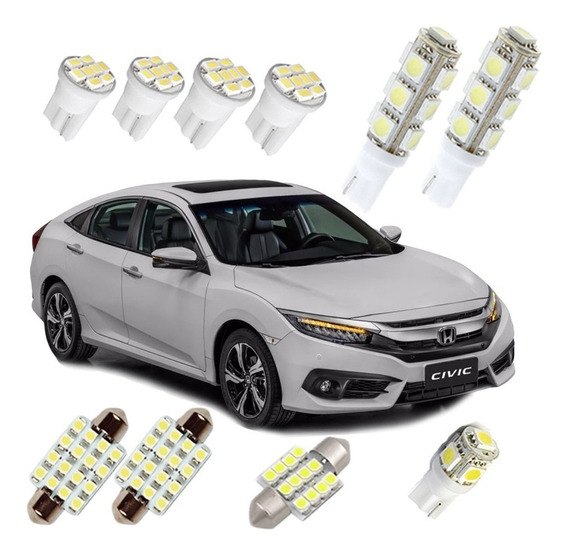 Kit Lampadas Led Honda New Civic G10 2017 2018 Teto Placa Ré