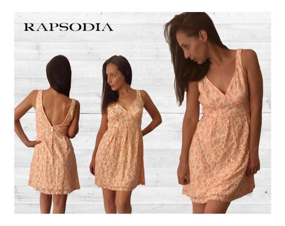 Vestido Encaje Rapsodia Nuevo C/etiquetas Color Durazno