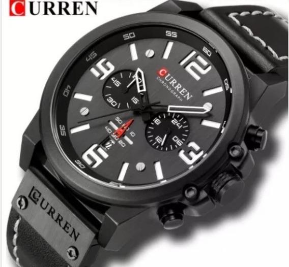 Relógio Masculino Sport Curren Pulseira Couro Preto