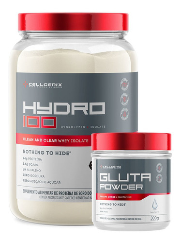 Kit Hidro 100 Whey Iso 900gr + Glutamina 300gr - Cellgenix