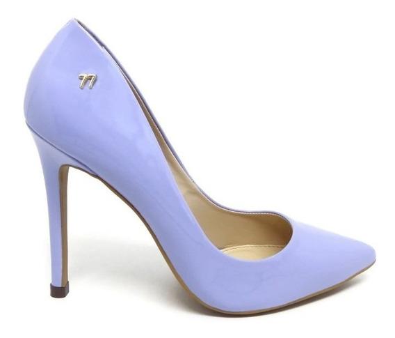 Scarpin Azul Bebe Claro Verniz Salto Alto 10 Fino Bico Fino