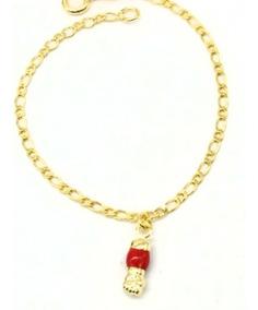 Pulseira Infantil Folheada Ouro 18k Figa Vermelha 190430.6
