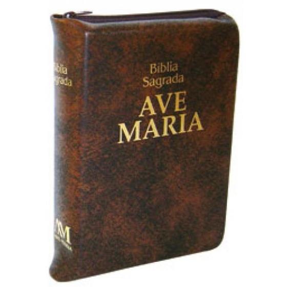 Biblia Sagrada Com Ziper Marrom Media - Ave Maria