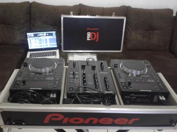 Par De Cdj 350 Pionner+ Djm 350 + Case Cdj Super Conservado.