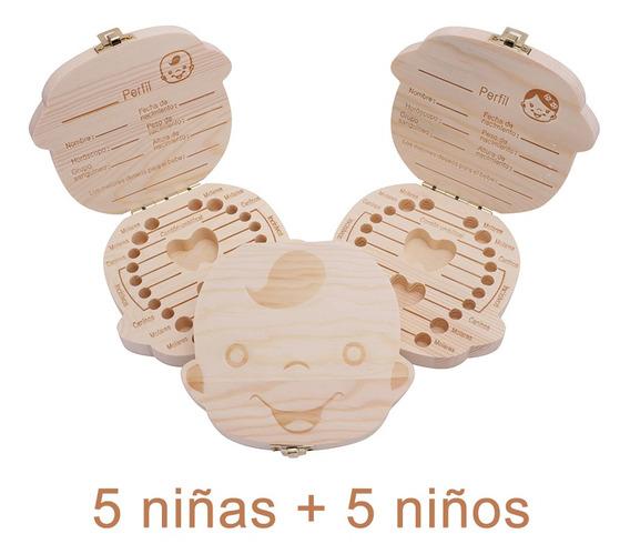 Cajas Dientes Leches Madera Cordón Umbilical 5 Niños 5 Niñas