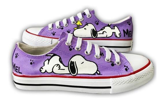 Tenis Personalizado Snoopy Pintado A Mano 07