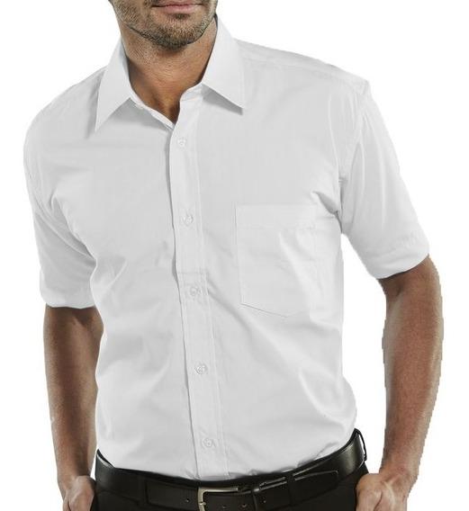 Camisa Masculina Manga Curta Branca Médico Fit Várias Cores