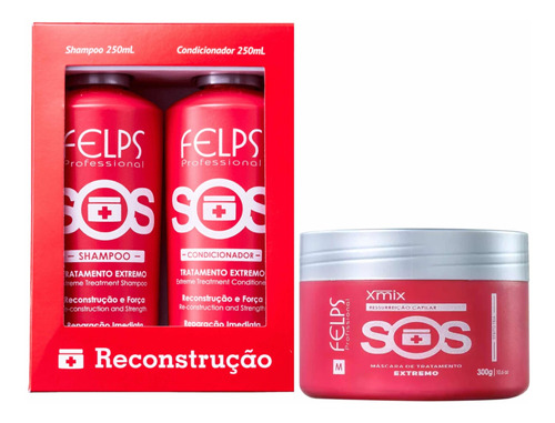 Imagem 1 de 2 de Felps Kit Duo Sos 2x250ml + Máscara 300g Sos + Brinde