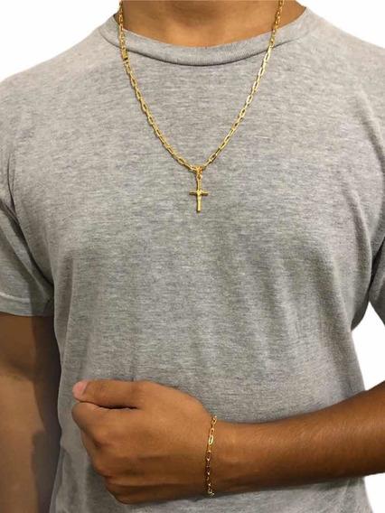 Conjunto Masculino Banhado A Ouro 18k + Pingente Grátis