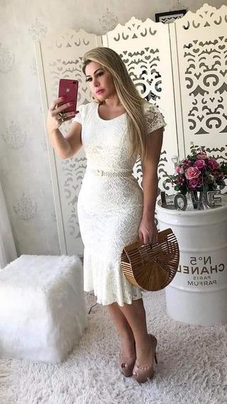 Vestido Moda Evangélica Midi Tubinho Renda Plus Size+cinto