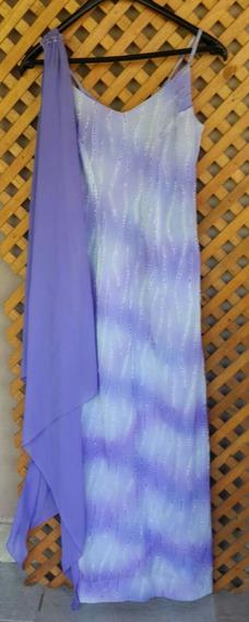 Vestido De Fiesta Gasa Bordado Canutillos Alta Costura