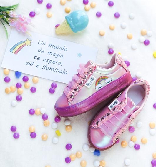 Tenis Niña Rosa Arcoíris Led Luminosos Olor A Chicle