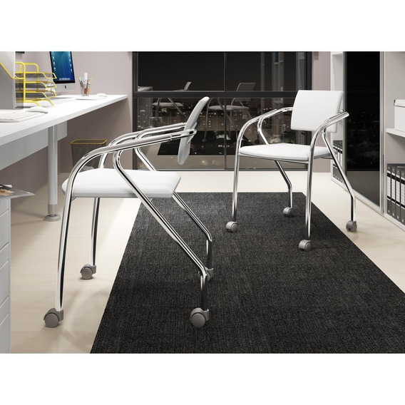 Conjunto 2 Cadeiras Carraro 1713 Escritório Cromado/branco