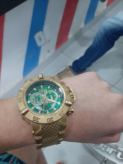 Relógio Invicta Original Dourado Fundo Verde