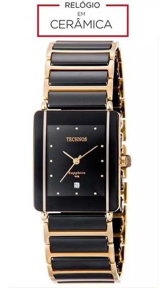 Relógio Technos Feminino Cerâmica Safira Preto E Dourado Gn10aapai/4p Original