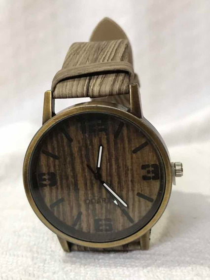 Relógio De Pulso Madeira Casual Quartz