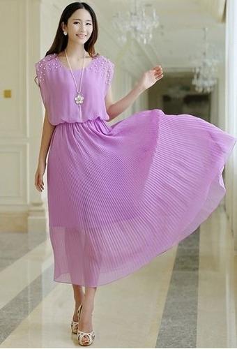 Vestido De Gasa Plisado Nuevo Importado En Stock