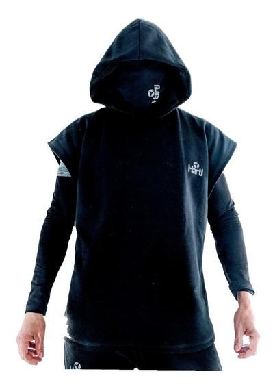 Id439 Buzos Black Poncho Hoodie Sudadera Hartl Sport Casual