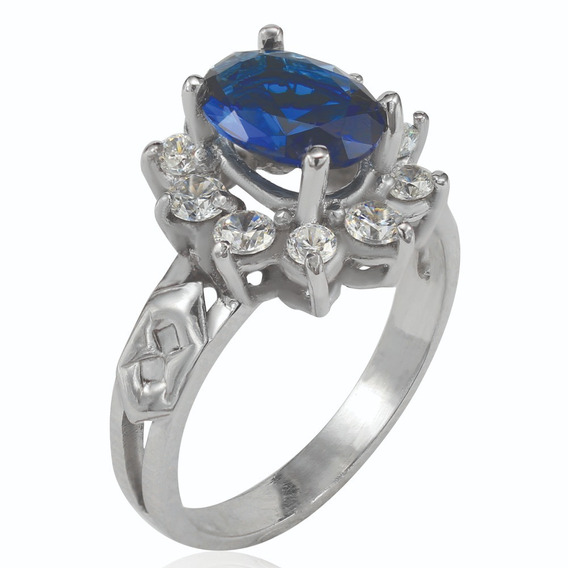 Anel De Formatura Administração Prata 925k - Safira Azul