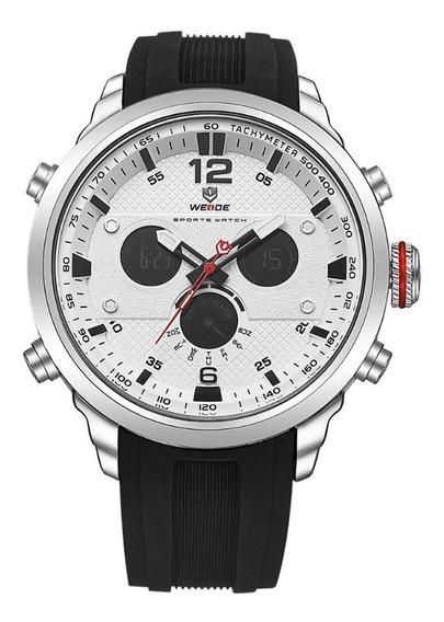 Relógio Masculino Weide Anadigi Wh-6303 - Preto, Prata E Bra