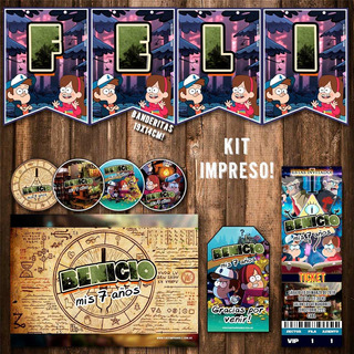Kit Gravity Falls Invitaciones Banderín Stickers Impreso