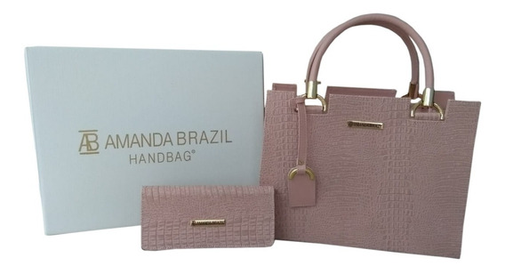 Kit Bolsa + Carteira Amanda Brazil Lorena / Croco 2019