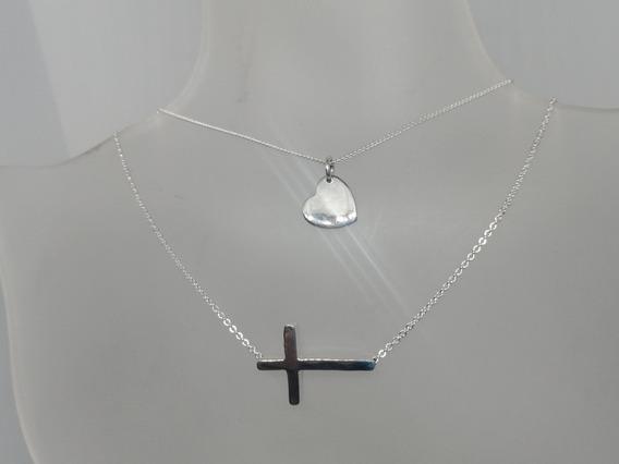 Doble Collar Gargantilla Cruz Y Corazón En Plata Fina 925 Le