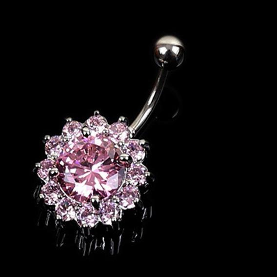Piercing Para Ombligo, Diseño De Flor De Cristal Con Incrust