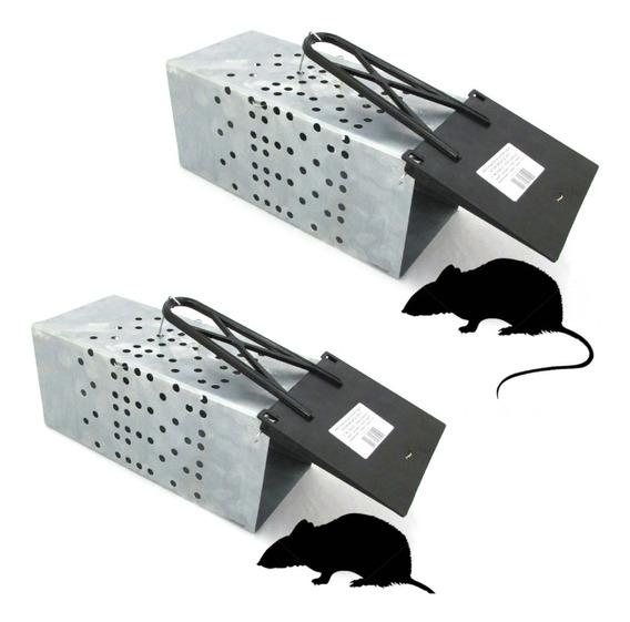 2x Ratoeira Gaiola Grande Com Mola Para Ratos E Ratazanas