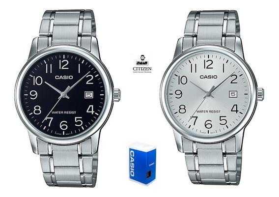 Reloj Casio Mtpv002 1b Hombre Acero Negro Fechador Full