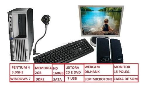 Cpu Completo Web Cam+monitor+teclado+mouse+caxinha De Som