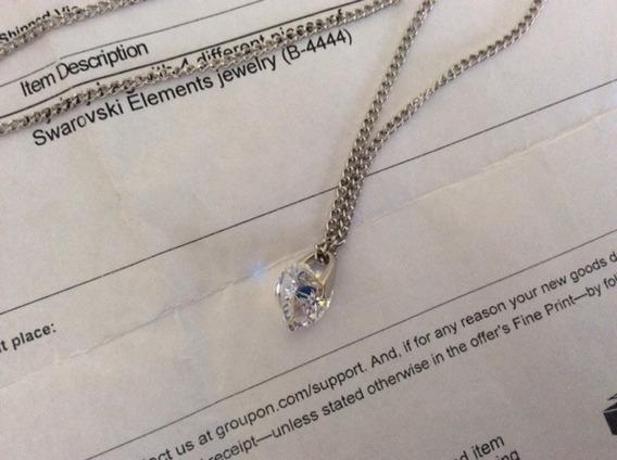 Colar E Pingente Swarovski Crystal Com Certicado
