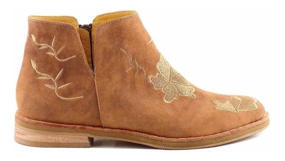 Bota Botineta Mujer Briganti Zapato Cuero Goma - Mcbo24790