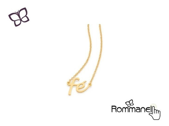 Gargantilha Fé Folheada Ouro Rhodium Rommanel 532076 130467