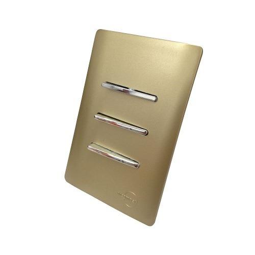 Imagem 1 de 5 de 3 Intes Simples Horiz Cromados C/ Placa 4x2 Dourada