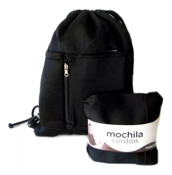 Mochila Expansible Expandible Cordon Expanda Viaje Negra