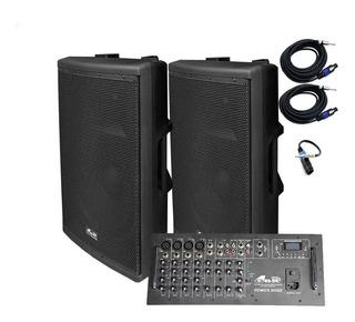 Combo Gbr Power9000 Consola 8 Canales+2 Bafles De 15 Todelec