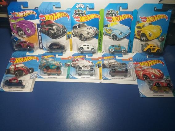 Coleção Com 10 Volkswagen Beetle Diferentes, Hot Wheels 1/64