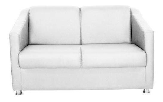 Namoradeira Decorativa Sofá 2 Lugares Tilla Corino Branco Pés Cromado Salão De Beleza