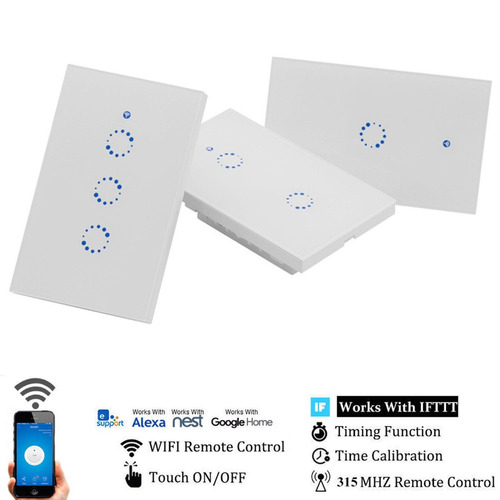 Interruptor De Pared Touch Wifi De 3 Contactos