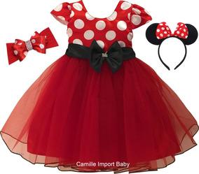 Vestido Infantil Festa Luxo Minnie Vermelha Poá E 2 Tiaras