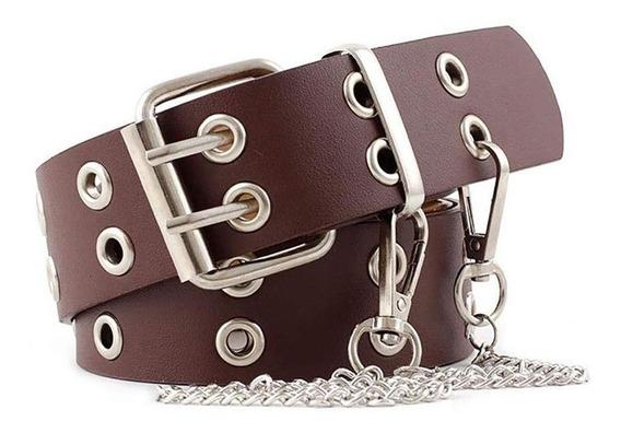 Cinturón Elegante Para Mujer, Doble Fila, Hebilla Firme