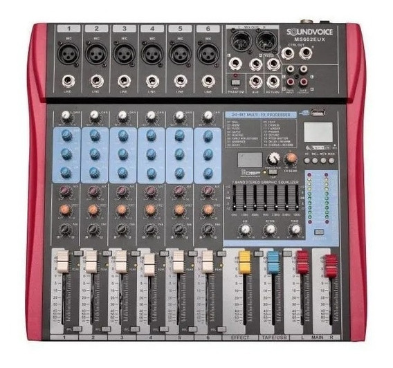 Mesa De Som Soundvoice 6 Canais Ms602 Eux