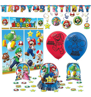 Super Mario Bros Premium Birthday Party Pack Decoración K...